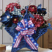 Vintage Americana Basket - Navy Star Basket with Stars and RIbbon