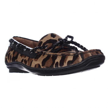 Donald J Pliner Lacey Square Toe Loafers, Natural Black Leopard, 6.5 US