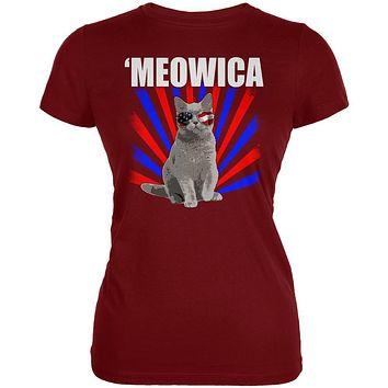 Cat 4th of July Meowica Juniors Soft T Shirt
