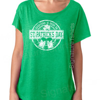 Funny St. Patricks Day tshirt womens t-shirt Everyone is Irish Vintage dolman scoop neck tshirt wife gift graphic tee shirt green tunic