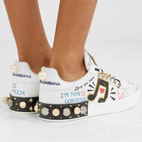 Dolce & Gabbana - Embellished printed leather sneakers