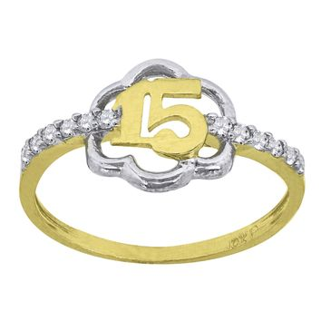 Round Cut CZ Sweet 15 Birthday Ring in 10k Yellow Gold