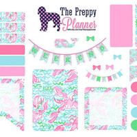 Lilly Pulitzer Inspired Weekly Set Up Lobstah Roll Planner Stickers for Filofax, Kikki K, Erin Condren, ECLP #LW21