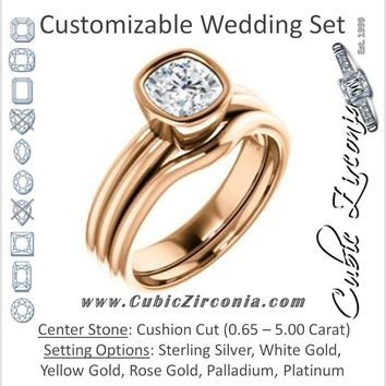 CZ Wedding Set, featuring The Stacie engagement ring (Customizable Bezel-set Cushion Cut Solitaire with Grooved Band)