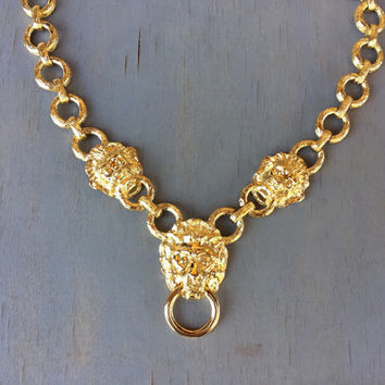 KJL Gold Lion Knocker Necklace Statement Piece Vintage Designer Jewelry Summer Fashion
