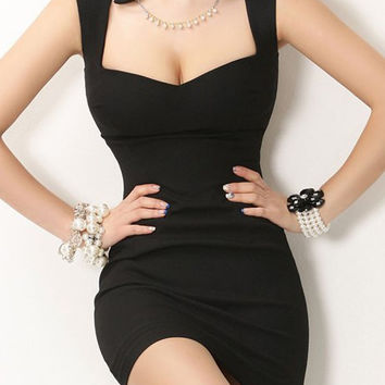 Black V-Neck Sleeveless Mini Dress