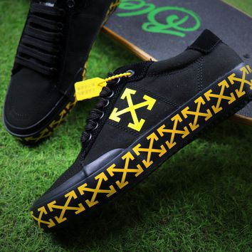 Sale Off White Vulcanised Arrows Sneakers Black/Yellow Canvas Shoes