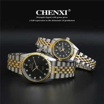 Luxury CHENXI Crystal Diamond Silver Gold Steel Japan Movt Dress Wristwacthes Wrist Watch for Men Women Lovers 004A