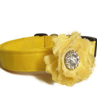 Dog Collar and Flower - MADE TO ORDER Yellow Collar and Heart Petal Silk Yellow Flower - wedding dog collar, yellow dog collar