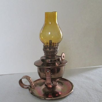Vintage Miniature Copper Color Kerosene Oil Lamp--Amber Glass Hurricane Shade--Made in Hong Kong--Americana--Colonial America--