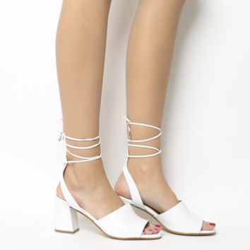 Office Miffi Tie Block Sandals White Leather - Mid Heels