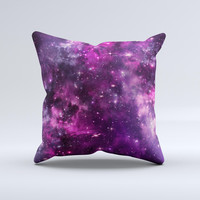 The Vibrant Purple Deep Space ink-Fuzed Decorative Throw Pillow
