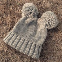 DCCK6HW Women Cute Solid Color Double Hairball Knit Beanie Hat Winter Accessories