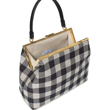 Mansur Gavriel Check Canvas Elegant Top-Handle Bag