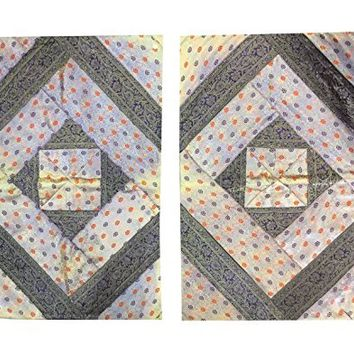 """Ethnic Silk Bed Pillow Cover Vintage Sari Border Patchwork Pillow Cases 30""""X 20"""""""