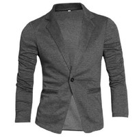 Allegra K Men Nocth Lapel Long Sleeve Button Closure Casual Blazers