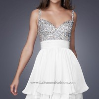 La Femme 16813 White Cocktail Dress