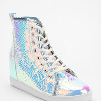 Urban Outfitters - Deena & Ozzy Holographic Hidden Wedge High-Top Sneaker