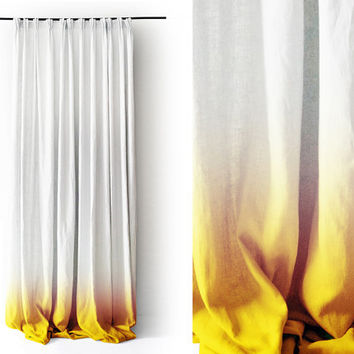 White Linen curtain panel Ombrè Yellow fade to white. Pinch pleat Number 3 by Lovely Home Idea.