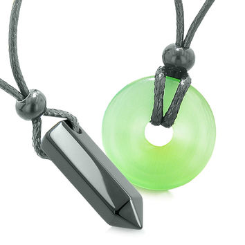 Yin Yang His Hers Love Couple Crystal Point Lucky Coin Donut Black Agate Green Cats Eye Amulet Necklaces