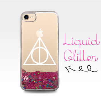 Deathly Hallows Symbol White Harry Potter New Liquid Glitter Sparkle Clear Case iPhone 6 Plus + iPhone 6s iPhone SE iPhone 7 iPhone 7 Plus
