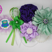 Owl baby shower , Maternity sash boy / purple and green belly  sash /Pregnancy sash / maternity belt / Baby shower sash , mommy to be belt