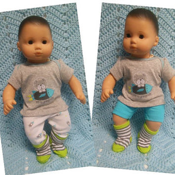"American Girl Bitty Baby clothes Bitty Twins BOY ""Off to Grandma's"" (15 inch)  playset top pants socks sock shorts rockets dog blue gray"