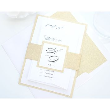 Gold Glitter Wedding Invitation, Glitter Wedding Invitations, Elegant Wedding Invitations - SAMPLE SET