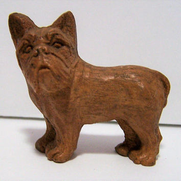 Pressed Carved Wood French Bulldog, 2 Inch Frenchie Dog Figurine, Vintage Miniature 118g