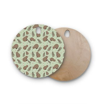 "Stephanie Vaeth ""Kiwi Bird"" Brown Green Illustration Round Wooden Cutting Board"