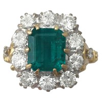 3.60 Ct Emerald and 1.85 Ct Diamond, 18 k Yellow Gold Cluster Ring - Vintage