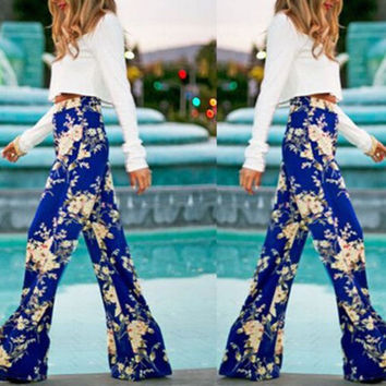 Womens Casual Boho Floral Printed Stretch Loose Yoga Long Pants Palazzo Trousers