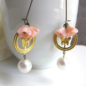 Romantic Pink White Czech Glass Bell Flowers. Brass Butterfly. Swarovski Pearls. Nickel Lead free Ear Accessory. Dangle Drop earrings
