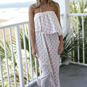 South Island Pink and Cream Medallion Maxi