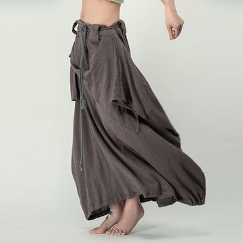 Outline Art to Wear Trend Pants Medium Waist Long Linen Cotton Pants Pleated Harem Pants Elastic Cuff Summer Palazzo Dress Pants