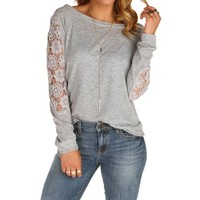 Sale-silver Crochet Comfort Top