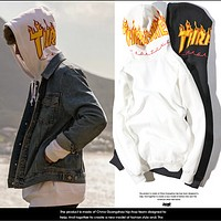 Thrasher autumn and winter men and women hooded hooded sweater jacket