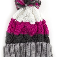 Katie Color Block Cable Knit Beanie with Pompom
