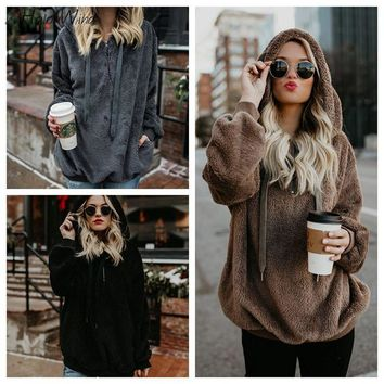 2018 Streetwear Fur Sweatshirt Hoodies Fashion Autumn Pullover Overcoat Long Sleeve Faux Fluffy Kpop Harajuku Hoodies Jackets