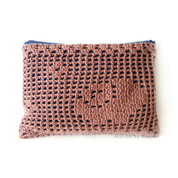 Pink Clutch in Denim and Crochet, woman crochet clutch, womens accessories, boho purse, gifts for her
