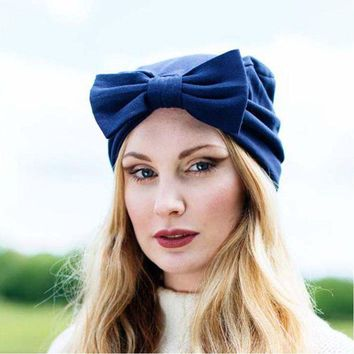 VONG2W Women hats solid big bow knot headscarf caps India Beanies Muslim Europe Hot Turban headdress for woman  fall New style 2017