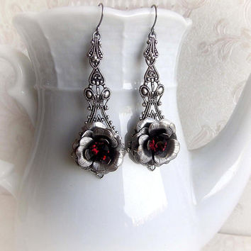 Silver flower earrings Swarovski crystal burgundy earrings neo victorian gothic bridal earrings antique silver filigree rose flower earrings