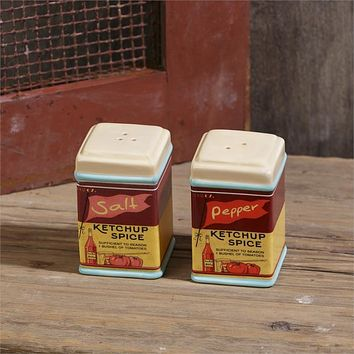 Retro Salt And Pepper Ceramic Shakers - Ketchup Spice