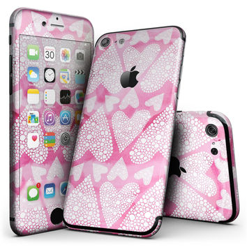 The Pink Watercolor Mosiac Hearts - 4-Piece Skin Kit for the iPhone 7 or 7 Plus