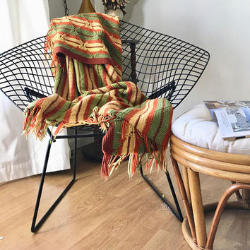 Colorful Afghan Throw Blanket, Crochet Striped Afghan, Fall Colors Boho Throw Blanket