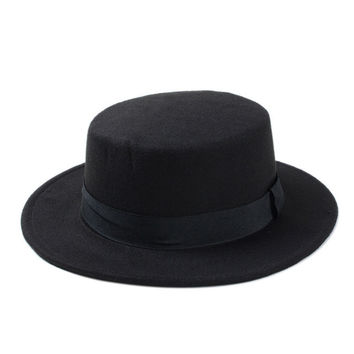 Flat Top Wide Brim Gambler Hat