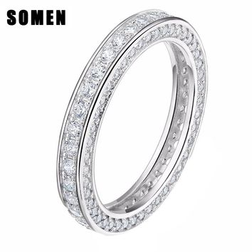 Somen Real 925 Sterling Silver Rings For Women Fashion Wedding Rings Engagement Band Queen Jewelry Sieraden Bague Mariage Femme