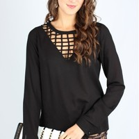 Black Cutout Blouse
