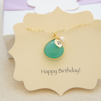 personalized beautiful gold vermeil chrysoprase necklace with pearl, mint green, gift, holiday, pendant, wedding