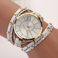 Ladies Faux Leather Creative Knit Weave Wrap Bracelet Analog Quartz Wrist Watch = 1958497476